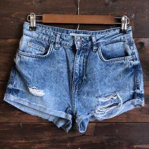 Topshop Moro Hallie High Rise Distressed Shorts